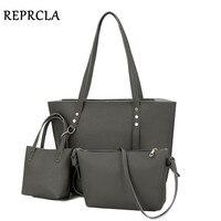 REPRCLA Litchi Pattern Three Pieces Women Bag Soft PU Leather Handbags Female Shoulder Bags Fashion Girls