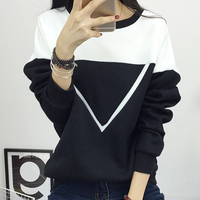 2016 Winter New Fashion Black And White Spell Color Patchwork Hoodies Women V Pattern Pullover Sweatshirt