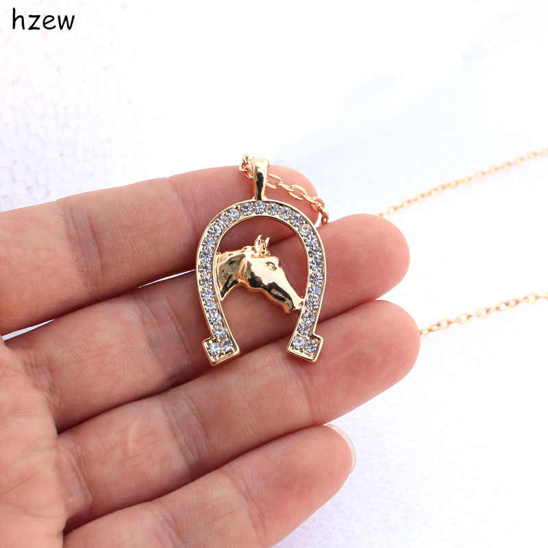 hzew fashion Horseshoe horse Crystal Horse Necklace Cute Brand pendant Necklace Gift Necklaces