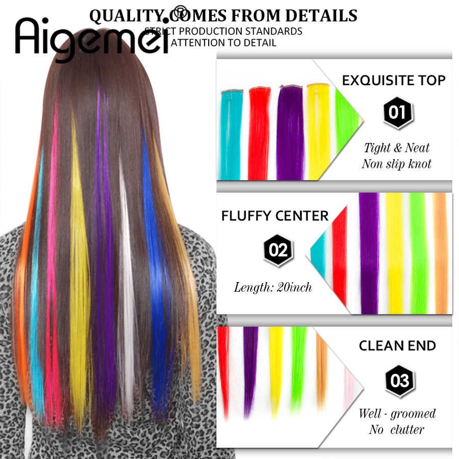 "Aigemei Clip In Hair Extensions Pink Red Blue Purple Hairpieces For Women Synthetic Hair Pieces 20"" Single Long Straight"