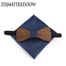 6 Color Wooden Bow tie Necktie Gravata Handkerchief Sets Paisley Floral Wedding Tie Set for Men Hanky