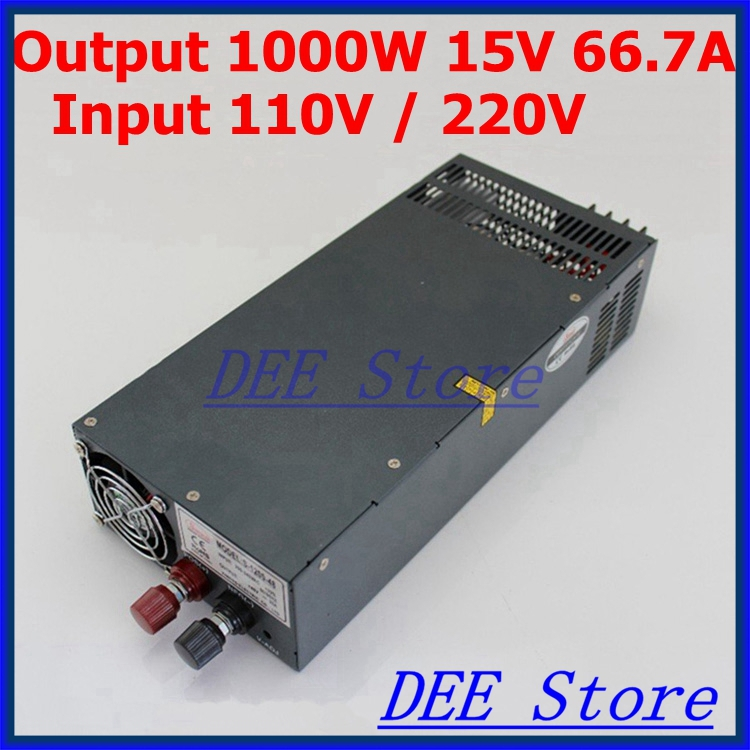 Led driver 1000W 15V 66.7A input ac 110v/220v to dc 15v Single Output Switching power supply unit for LED Strip light led driver ac input 220v to dc 1800w 0 110v 16 4a adjustable output switching power supply transformer for led strip light