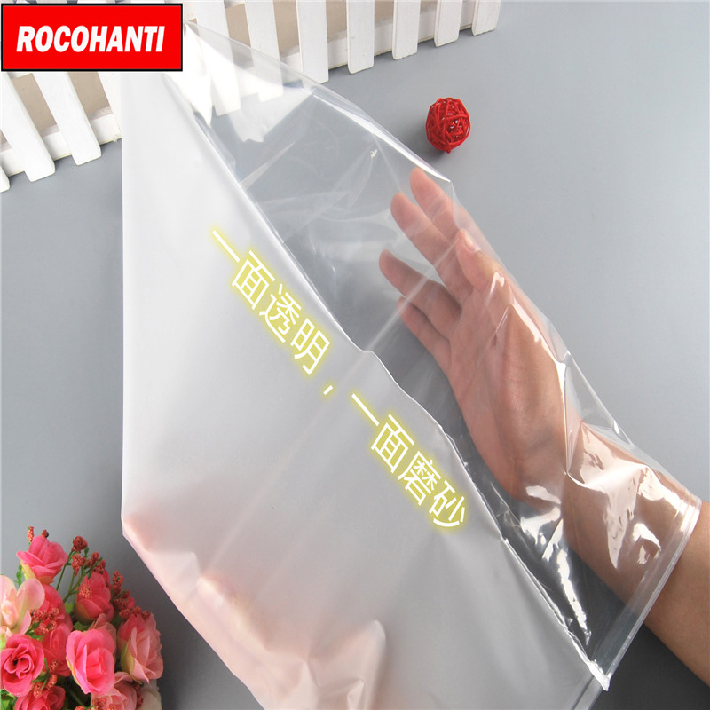 100X Custom design half clear half frosted pvc slider zip lock bags