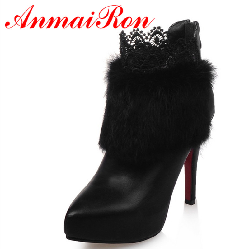 ФОТО ANMAIRON Spring/Autumn New Fashion Ankle Boots High Heels for Women Fashion Charm Thin Heels Shoes Pointed Toe Large Size 34-39