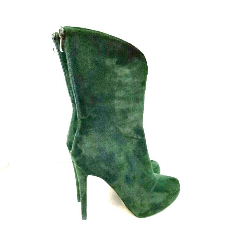 Femme Talons Cheville Initiale 4 8831 Taille Bout Plus L'intention Nous Chaussures Vert 8832 Belle Noir 15 Bottes Rond Élégant Minces Populaire xOEBdB0w