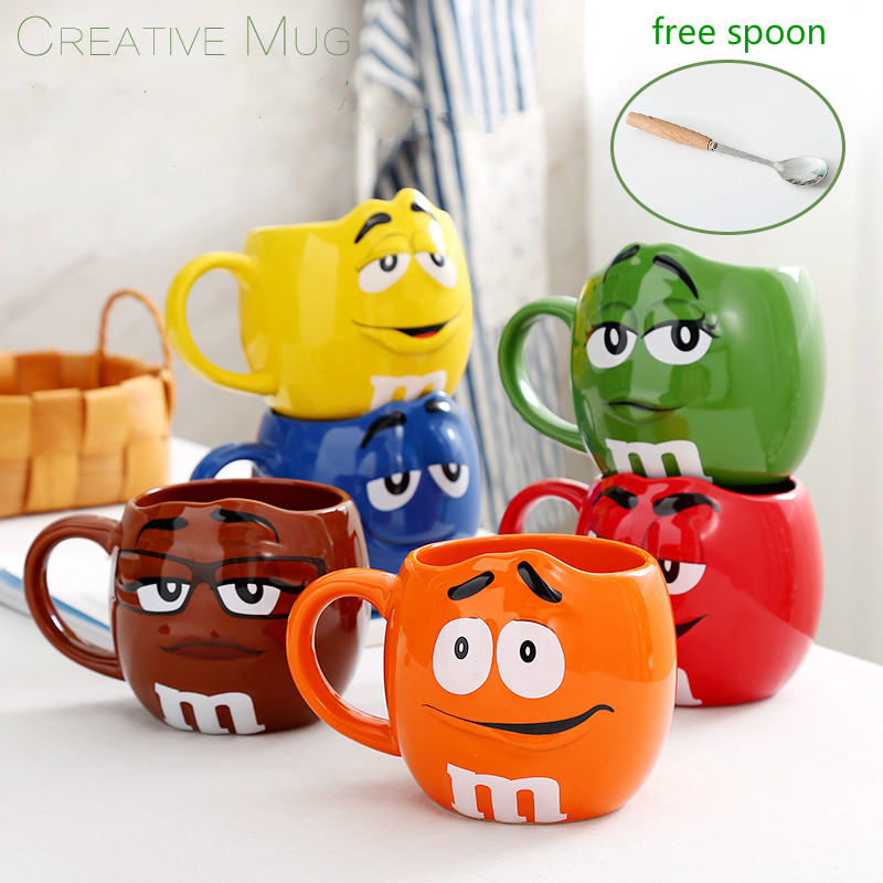 600ml Large Cute Cartoon Mug  M Design Cup Chic Baby Novelty Water Tool Capacity Ceramic Milk Oat Cup Bowl Birthday Gifts taza de m&m