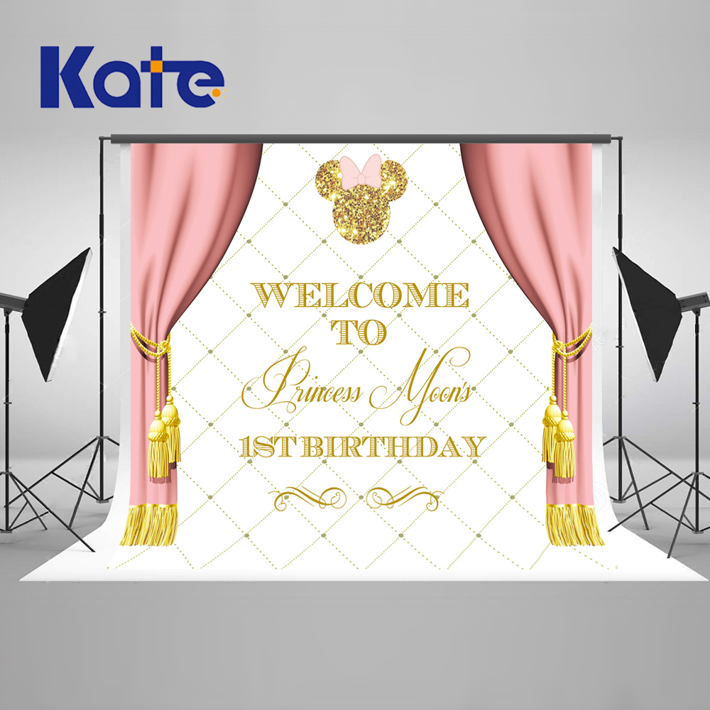Kate Pink Children Happy Birthday  Photography Backdrops Princess Background Custom Made Backgrounds for Photo Studio simple wave photography backdrops 3x5ft newborn boy birthday photography background custom made fotografia