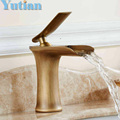Free shipping Basin Faucet Antique Brass waterfall Bathroom Basin Sink Mixer Tap Crane,torneira YT-5086