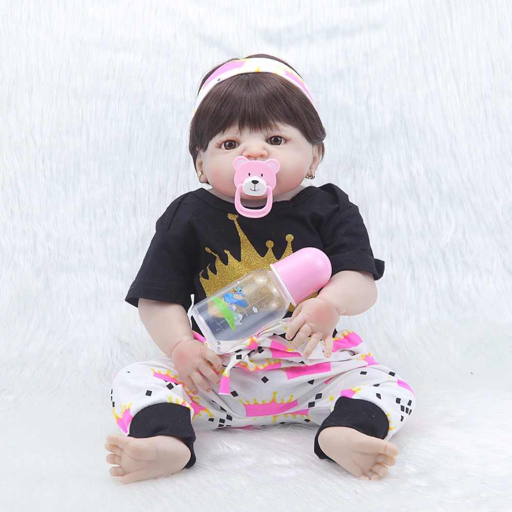 Новый дизайн 23 ''Реалистичная детская возрожденная менина 57 см Силиконовые Реалистичные виниловые детские игрушки с париком для волос для детей Рождественский подарок