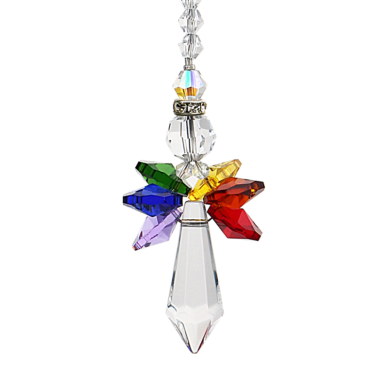 H&D Crystal Guardian Angel Suncatcher Car Charm For Rear View Mirror Home Garden Hanging Decoration Gift (Chakra)