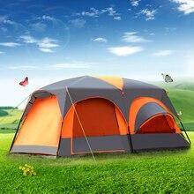 Nova 8 12 pessoa dupla camada um salão dois quartos à prova dwaterproof água super forte barraca de acampamento grande gazebo grande tenda