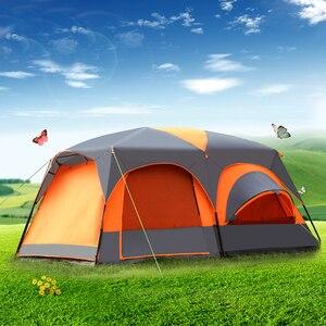 Novedad, tienda de campaña de 8 a 12 personas, doble capa, un salón, dos habitaciones, resistente al agua, tienda grande de campaña