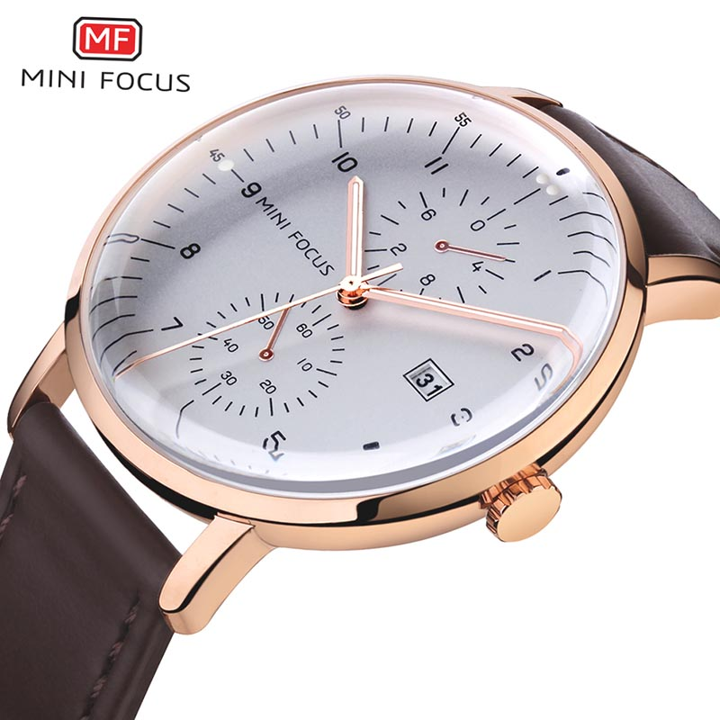 Mens Watches MINI FOCUS Top Brand Luxury Quartz Watch Men Calendar Bussiness Leather relogio masculino Waterproof reloj hombre