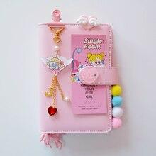 Leuke Kawaii A6 Notebook Macaron Lederen DIY losbladige Dagboek Dagboek Spiraal Tijd Planner Agenda Organizer Briefpapier Gift