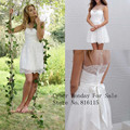 Vestido De Noiva New Fashionable Short Wedding Dresses 2015 Romantic Lace Bride Dresses See Though Back Sexy Beach Wedding Gown