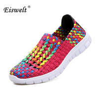 EISWELT 2017 Woven Shoes Women Flats Breathable Shallow Mouth Lazy Loafers Slip Resistant Comfort Flat Handmade