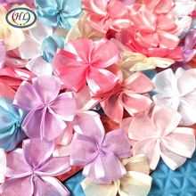 HL 30PCS/lot 35MM New Arrival Organza Ribbon Flowers Handmade Flowers Wedding Decorative Apparel Hair Sewing Appliques DIY Craft(China)