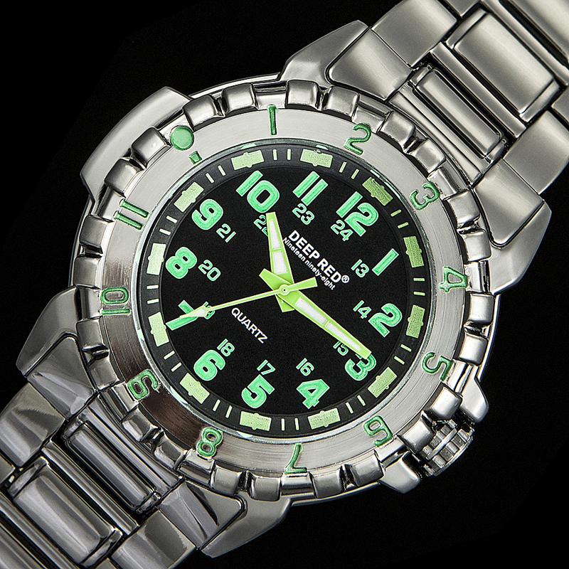 DEEPRED 2018 New Fashion Pointer Fluorescent Full Steel Men Quartz WristWatches Green Numbers C1292