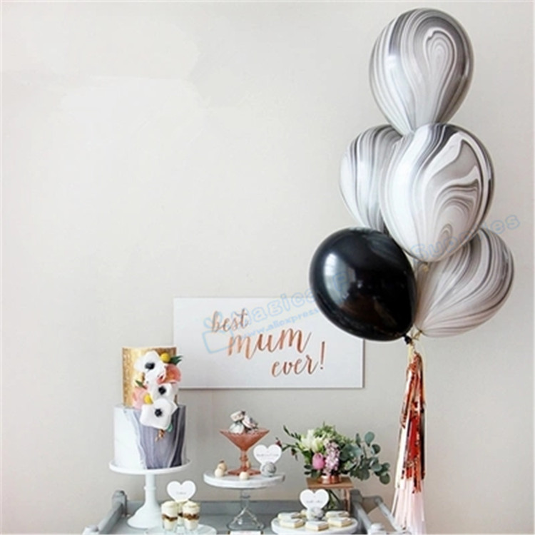 Marble Decoration: 50pcs Marble Balloons Black And White Latex Balloons