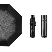 Creative Ultralight Small black umbrella Tri-fold Sunscreen Vinyl custom made Folding anti-UV 3D pattern