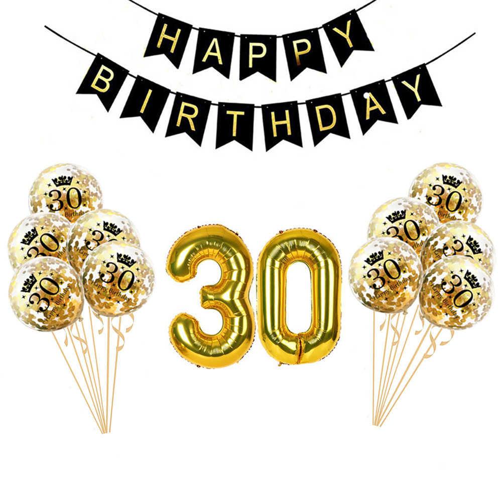 ผู้ใหญ่ Gold 30th Birthday Party ชุดตกแต่ง 30 พิมพ์ Confetti บอลลูนแฮปปี้แบนเนอร์วันเกิด 30 ปีวันเกิด