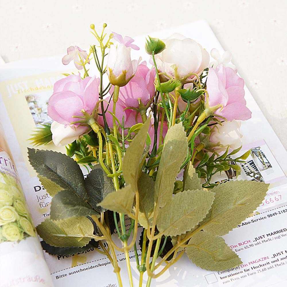 Искусственные цветы 13 голов/Букет маленький бутон шелковые розы Имитация цветов зеленые листья домашние вазы осень декор для свадьбы