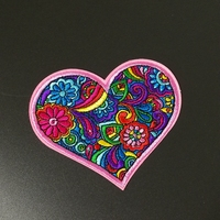 8.5cm colorful heart patches iron on patches Applique motorcycles wholesale patches 20 pieces