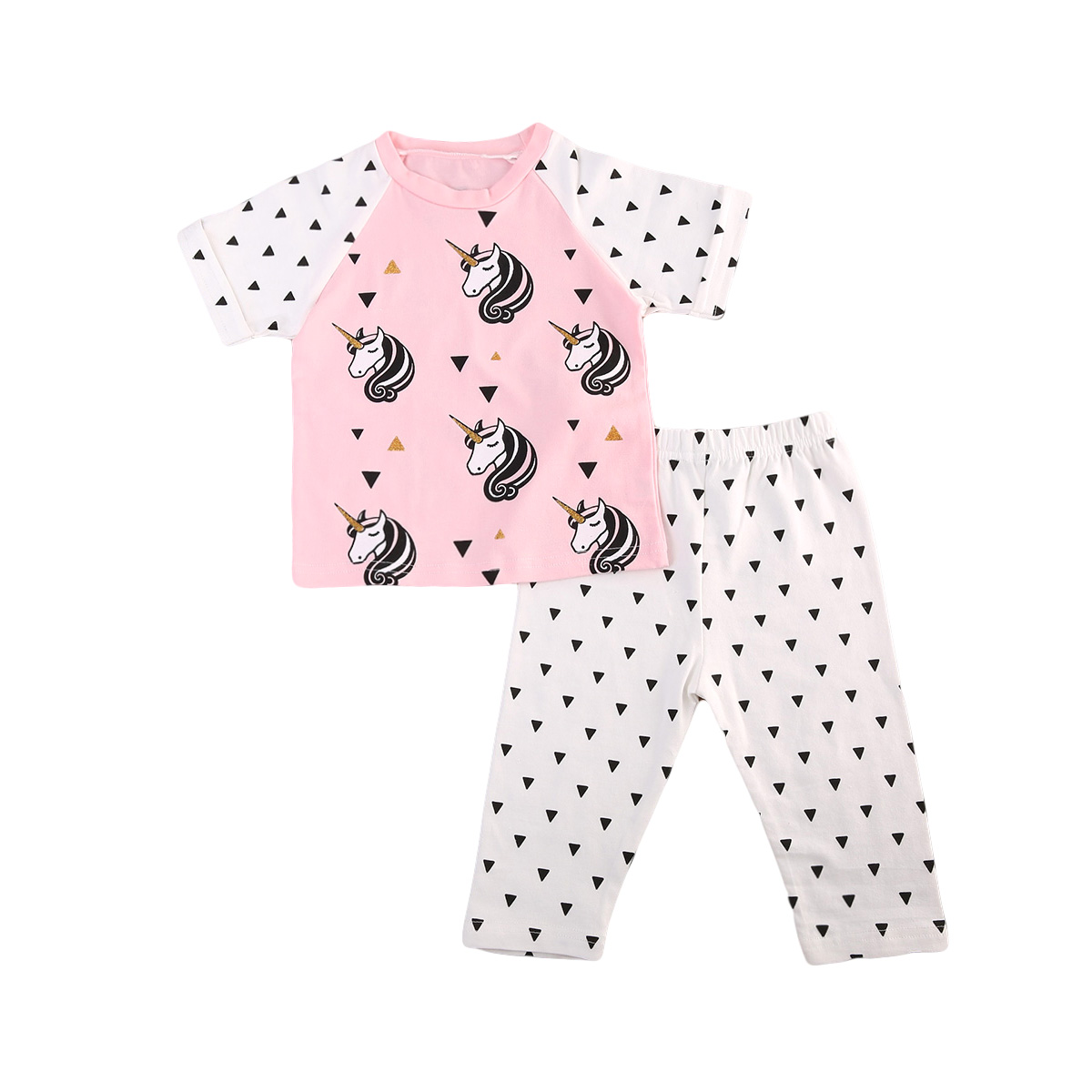 Cute Toddler Infant Baby Girls Unicorn Tops Short Sleeve T-shirt Pants Legging Outfits Set Summer Autumn Cotton Clothes 2pcs 2pcs set autumn cartoon rabbit toddler baby kid girls long sleeve suit t shirt tops pants costume tracksuit outfits 1 5t