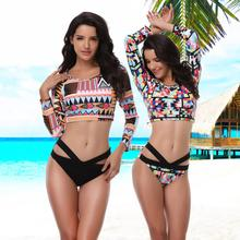 New Plus-size Long Sleeves High-slit Bikini Set Women's Swimsuit Colorful Printed Push-Up Padded Tankini Bathing Suit From L-5XL