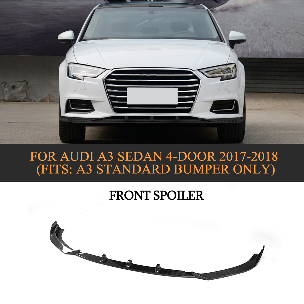 Carbon Fiber Car Front Lip Spoiler for Audi A3 Sedan 4 Door 2017-2018 Non S3/RS3