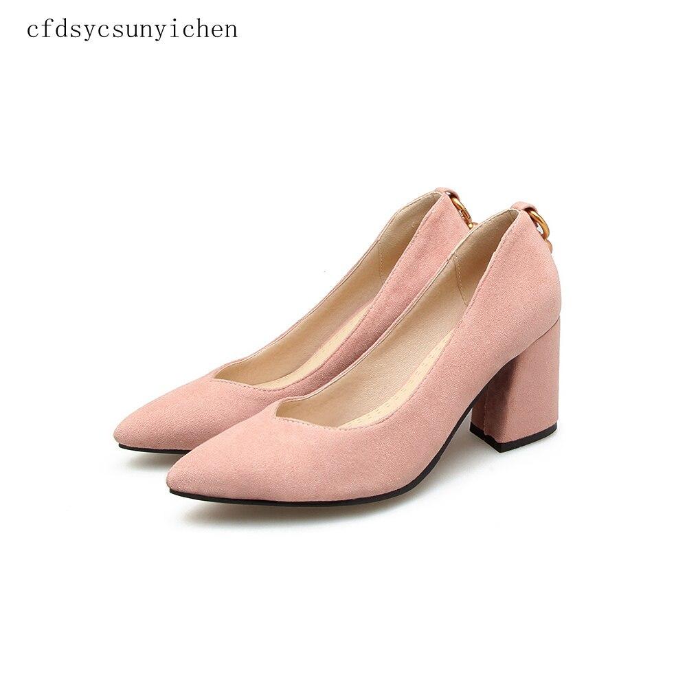 New Women Fashion High Heels Pumps Apricot Pink Black woman shoes Pumps for Ladies Plus Big Size 11.5 P BK 07 3