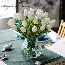 משלוח חינם 31 יח\חבילה PU מיני טוליפ פרח אמיתי מגע חתונה זר פרחים מלאכותיים משי פרחים לבית המפלגה קישוט