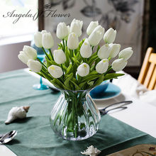 Free shipping 31PCS/LOT pu mini tulip flower real touch wedding flower bouquet artificial silk flowers for home party decoration(China)