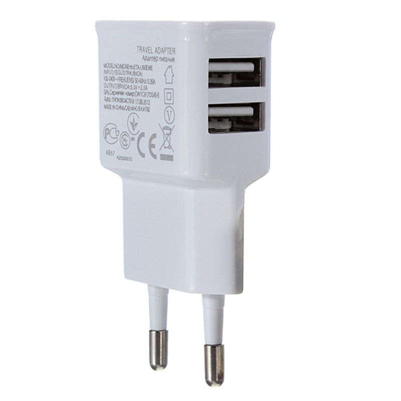 Universal EU Dual USB Ports Wall Phone Charger Adapter Power Charging For iPhone 7 6s 6 Plus For Samsung Cellphone Portable