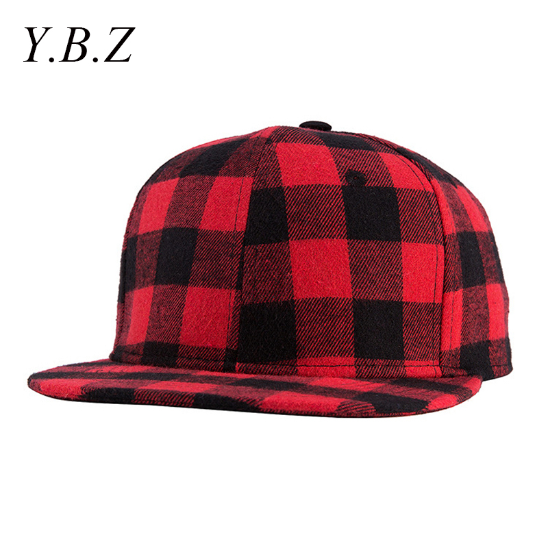 Ybz cassic black and red plaid canvas cotton adjustable snapback caps for...