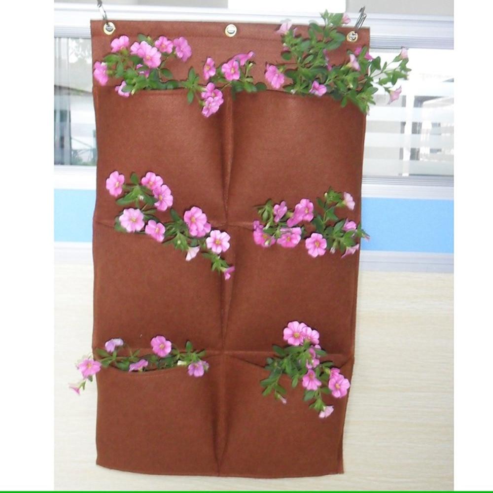 6 Pocket Felt Wall mounted planters vase Outdoor Vertical Gardening ...