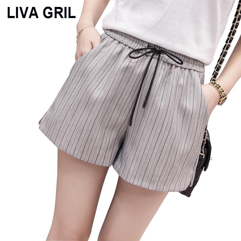 Liva Girl 2019 Summer Korean Style High Waist Stripe Wide Leg Shorts Loose Women's Casual Cotton Hot Pants Harajuku Women Shorts