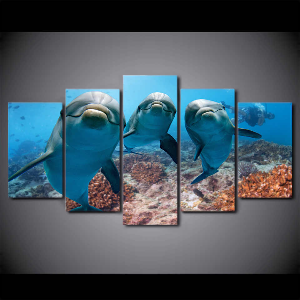 Wall Frame Modern Art Home Decor Living Room Canvas 5 Panel Deep Ocean Swimming Dolphin Pictures HD Print Painting Poster