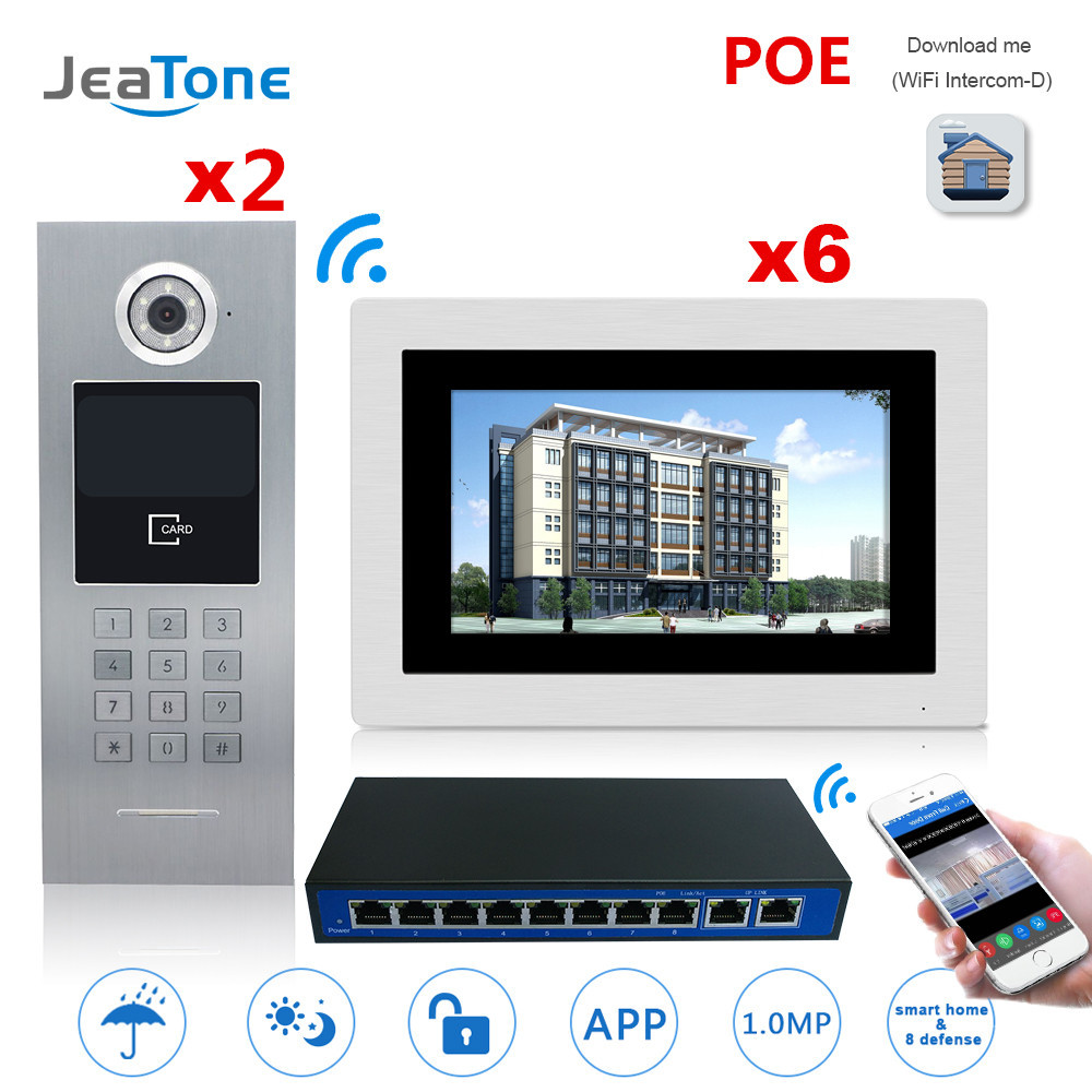 7'' Touch Screen WIFI IP Video Door Phone Intercom +POE Switch 2 To 6 Building Access Control System Support Password/IC Card