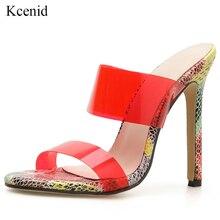 Kcenid 2019 nouvelles sandales en gelée de PVC cristal bout ouvert sexy talons aiguilles femmes chaussures colorées dété sandales pantoufles rouge