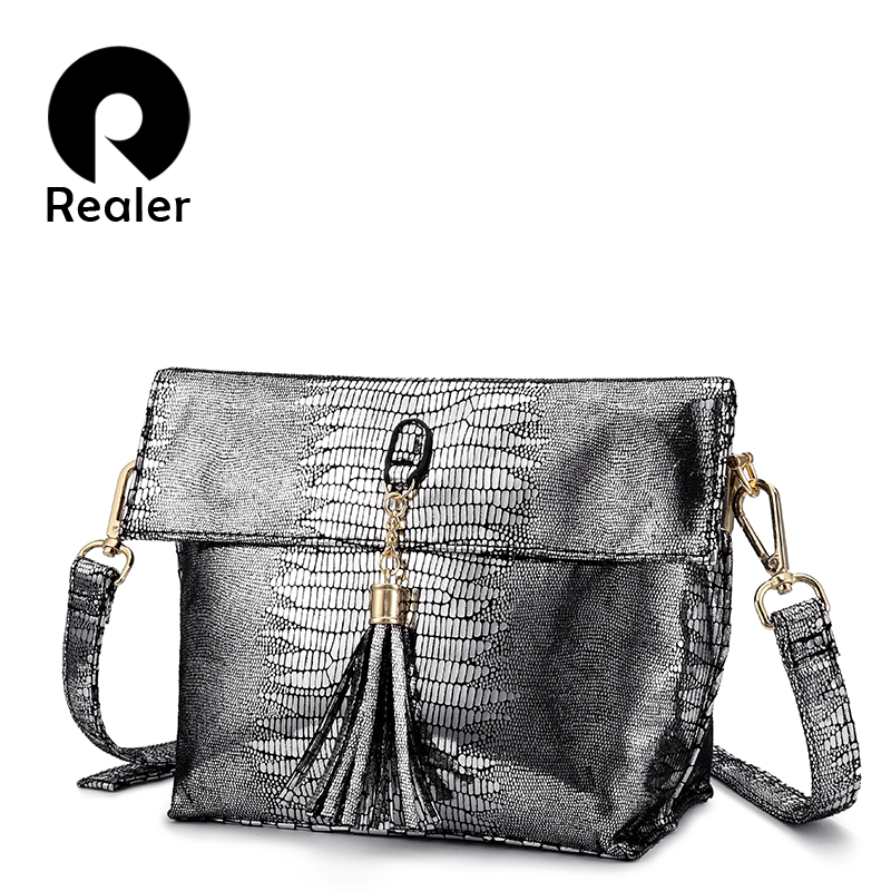 ed40aaf4ed REALER women handbags Pu leather messenger bags Serpentine Crossbody shoulder  bags High quality small Flap high quality fashion-in Top-Handle Bags from  ...
