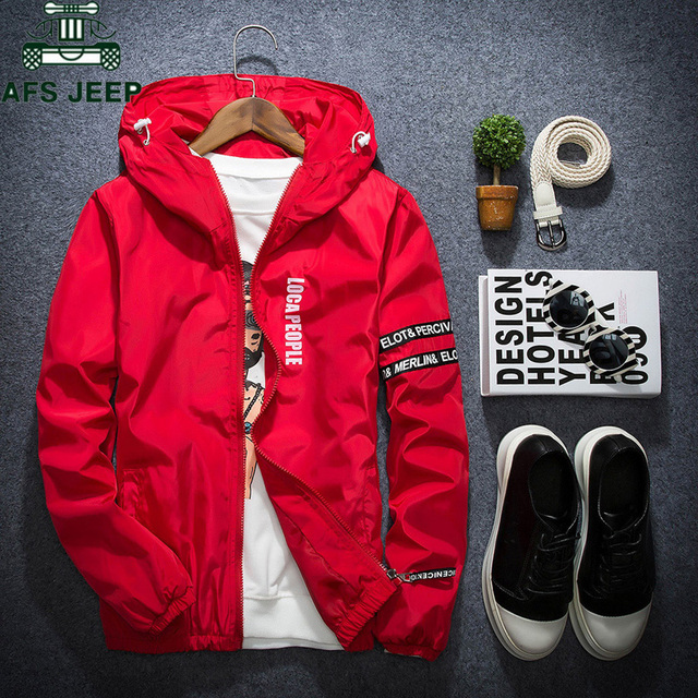 AFS JEEP Spring Autumn Thin Windbreaker Jacket Men Plus Size M-4XL jaqueta masculina Slim Fit Young Men Hooded bomber jacket men