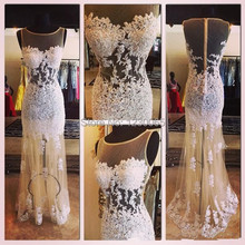 2015 Hot Sale Sexy See Through Straight O Neck Evening Dresses ChampagneTulle White Applique Real Sample prom Gowns