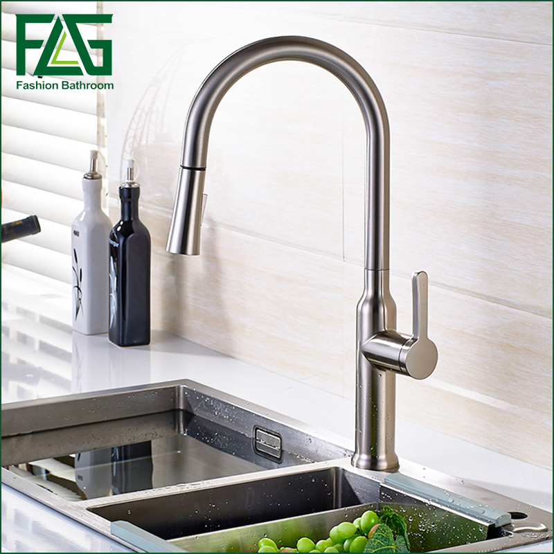 FLG Brush Kitchen Faucet Pull Out torneira cozinha Nickel Kitchen Sink Faucet Mixer Kitchen Faucets Pull Out kitchen Tap xoxo kitchen faucet brass brushed nickel high arch kitchen sink faucet pull out rotation spray mixer tap torneira cozinha 83014