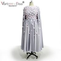 3D applique flower prom dresses robe de soiree courte 2018 removable cape a line satin tea length princess evening dresses short