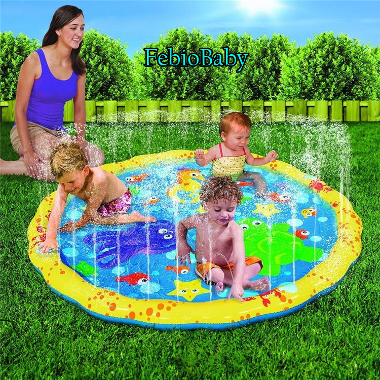 100cm Summer Children's Outdoor Garden Play Water Games Beach Mat Spray Water Lawn Sprinkler Cushion Toys Pad Fun For Baby