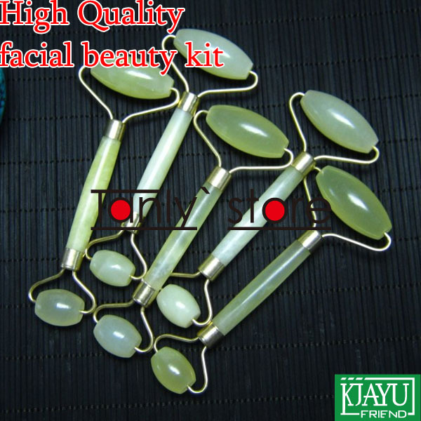 High Quality! wholesale & retail Guasha massage tool 100% natural Jade middle double push roller facial beauty kit 12pcs/lot 2017 new natural jade germanium tourmaline stones infrared heating mat natural jade facial beauty massage tool jade roller