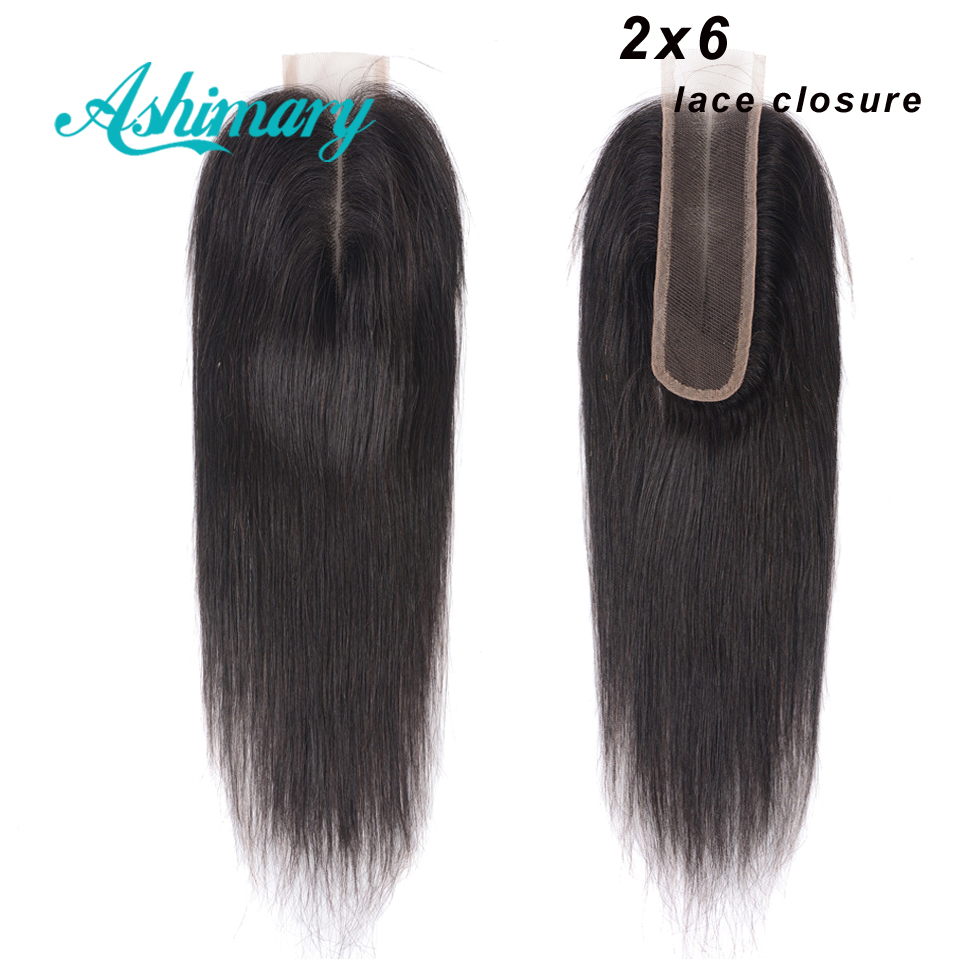 Ashimary Straight Human Hair Closure 2x6 Lace Closure 100% Brazilian Hair Closure Middle Part 8-20'' Natural Color