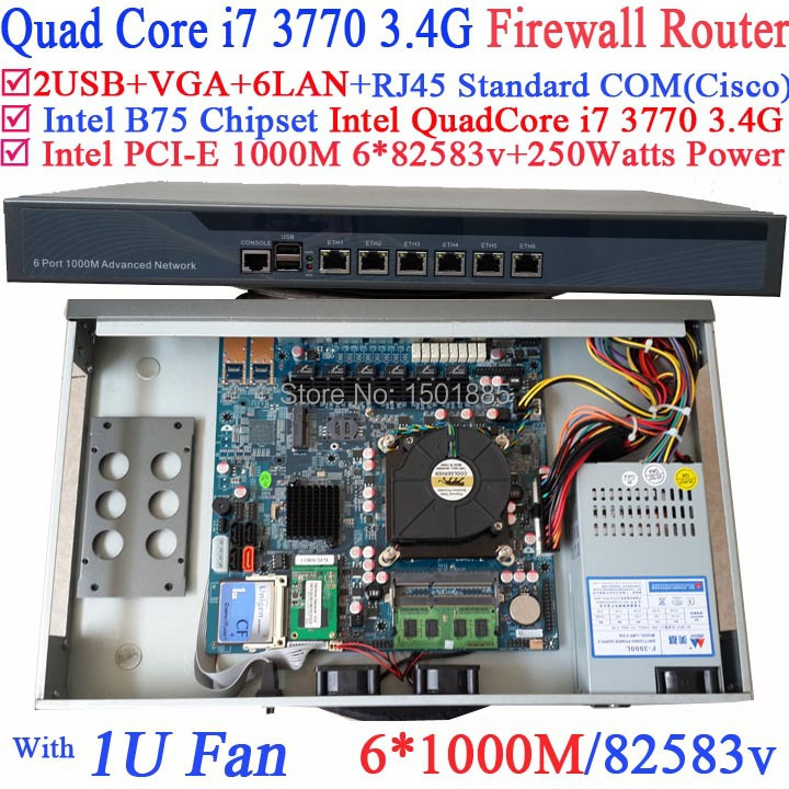 Firewall Router B75 Barebone Router with 6 Gigabit 82583v Lan Intel Quad <font><b>Core</b></font> <font><b>i7</b></font> <font><b>3770</b></font> 3.4Ghz LGA1155 CPU image