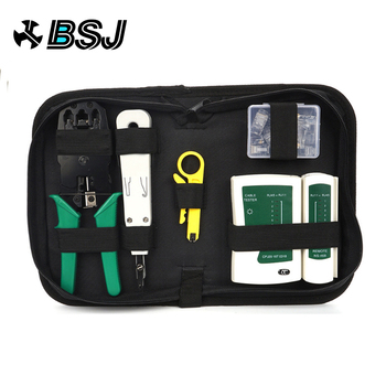 Network Ethernet Cable Tester RJ45 Kit  Crimper Crimping Tool Punch Down RJ11 Cat5 Cat6 Wire Line Detector 8P8C RJ45 network cable testing diagnostic tool kit set rj45 rj11 ethernet lan cable tester voltage detector punch tool wire tracker